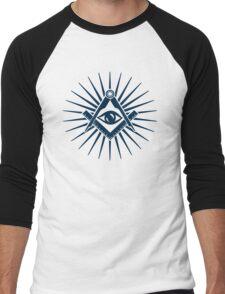 Masonic symbol, all seeing eye, freemasonry  Men's Baseball ¾ T-Shirt