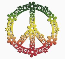 PEACE SYMBOL,  Reggae flowers, symbol of freedom Kids Clothes
