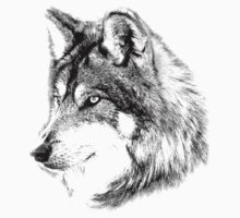 Wolf Face. Majestic Wolf Gazes Into The Distance. One Piece - Long Sleeve