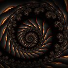 Black Spiral Fractal by Kitty Bitty
