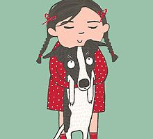 CUTE DOG AND GIRL, PUPPY LOVE by Jane Newland
