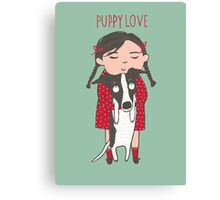 CUTE DOG AND GIRL, PUPPY LOVE Canvas Print