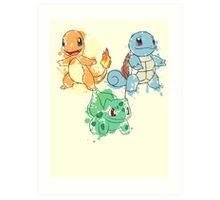 Starter Pokemon Splatter Art Print