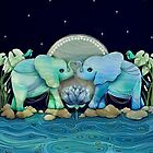 Lotus Flower Elephants Ocean Blue and Sea Green by © Karin Taylor
