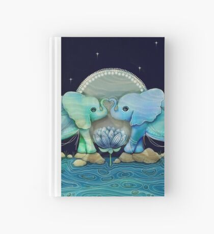 Lotus Flower Elephants Ocean Blue and Sea Green Hardcover Journal