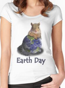 Earth Day Squirrel Women's Fitted Scoop T-Shirt