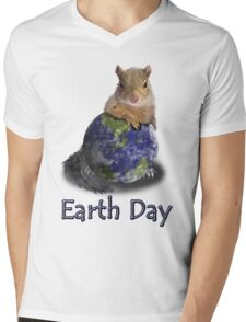 Earth Day Squirrel Mens V-Neck T-Shirt