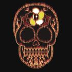 Flaming Day of the Dead Skull  by Val  Brackenridge