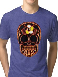Flaming Day of the Dead Skull  Tri-blend T-Shirt