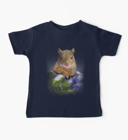 Happy Earth Day Squirrel Baby Tee