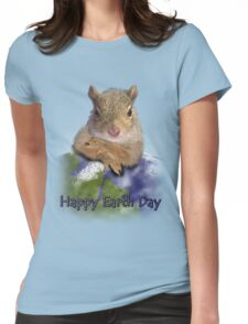 Happy Earth Day Squirrel Womens Fitted T-Shirt