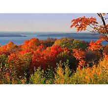 Lake Skegemog and Elk Lake beyond the fall colors Photographic Print