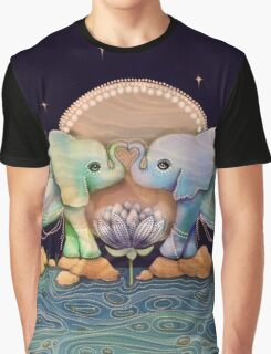 Lotus Flower Elephants of the Rainbow Graphic T-Shirt