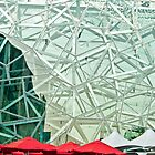 Federation Square, Red Umbrellas by Ray Garrod