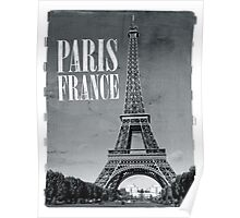 vintage eiffel tower black and white Poster