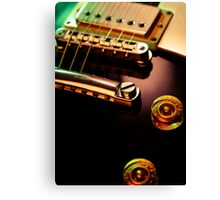 Electric guitar strings and bridge closeup Canvas Print
