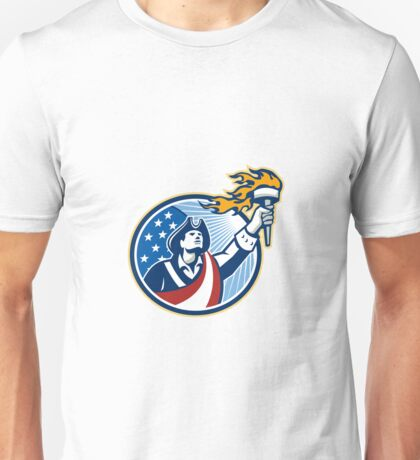 American Patriot Holding Torch Stars Stripes Flag Unisex T-Shirt