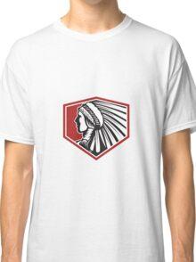 Native American Indian Warrior Side Retro Classic T-Shirt