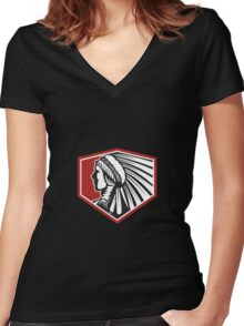 Native American Indian Warrior Side Retro Women's Fitted V-Neck T-Shirt