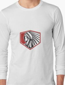 Native American Indian Warrior Side Retro Long Sleeve T-Shirt