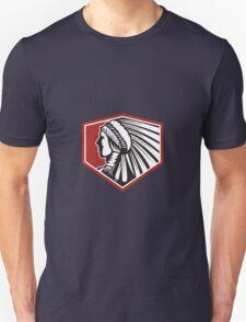 Native American Indian Warrior Side Retro Unisex T-Shirt