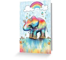 Little Rainbow Elephant Greeting Card