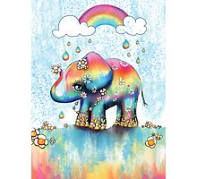 Little Rainbow Elephant Photographic Print