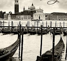 Gondolas in Venice by sumners