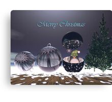 Surrealistic Christmas text card With Baubles and Penguin Canvas Print