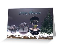 Surrealistic Christmas text card With Baubles and Penguin Greeting Card
