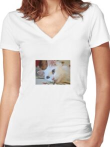 Portrait of A Blue Eyed Van Cat Women's Fitted V-Neck T-Shirt