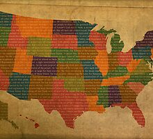 Declaration of Independence Word Art on USA Map Fifty States by designturnpike