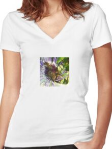 Passion Flower and Honey Bees Collecting Pollen Women's Fitted V-Neck T-Shirt