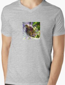 Passion Flower and Honey Bees Collecting Pollen Mens V-Neck T-Shirt
