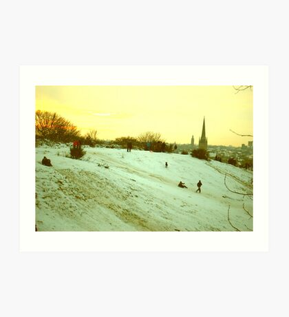 Sledging on St. James' Hill, Norwich, England Art Print