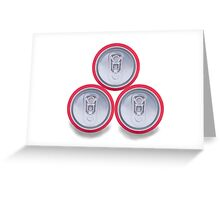 three aluminum drink cans shadow Greeting Card