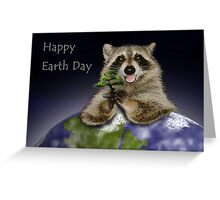 Happy Earth Day Raccoon Greeting Card