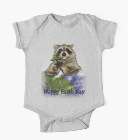 Happy Earth Day Raccoon One Piece - Short Sleeve