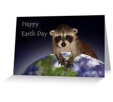 Happy Earth Day Raccoon Greeting Card