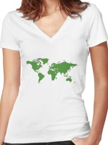 World Map Women's Fitted V-Neck T-Shirt