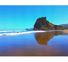 Iconic Lion Rock reflected on famous Piha Beach, Auckland Photographic Print