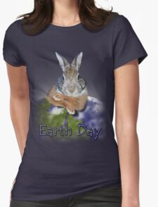 Earth Day Bunny Rabbit Womens Fitted T-Shirt