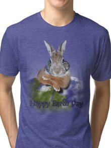 Happy Earth Day Bunny Rabbit Tri-blend T-Shirt