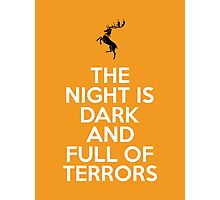 House Baratheon The Night Is Dark And Full Of Terrors Photographic Print