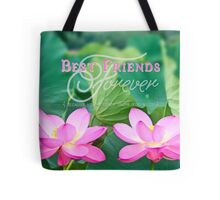 Best Friends Forever Gorgeous Pink Lotus Flower Pair Tote Bag