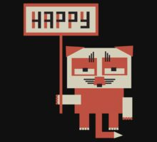 grumpy fox holding HAPPY sign Baby Tee