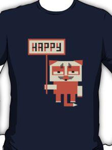 grumpy fox holding HAPPY sign T-Shirt