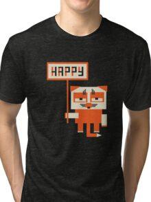 grumpy fox holding HAPPY sign Tri-blend T-Shirt