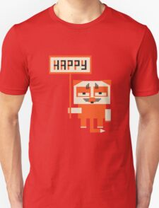 grumpy fox holding HAPPY sign T-Shirt