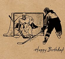 Shot on Net Hockey Birthday Card - Female by SaucyMitts